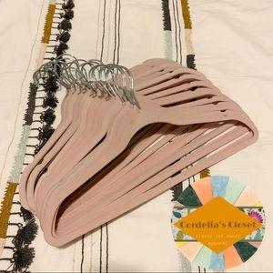 Other - Lot of 20 Velvet Pink No Slip Slim Hangers